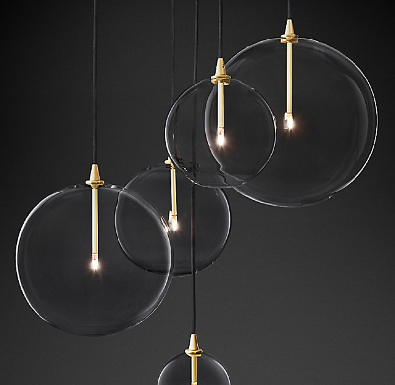 GLASS GLOBE MOBILE CLUSTER GOLD