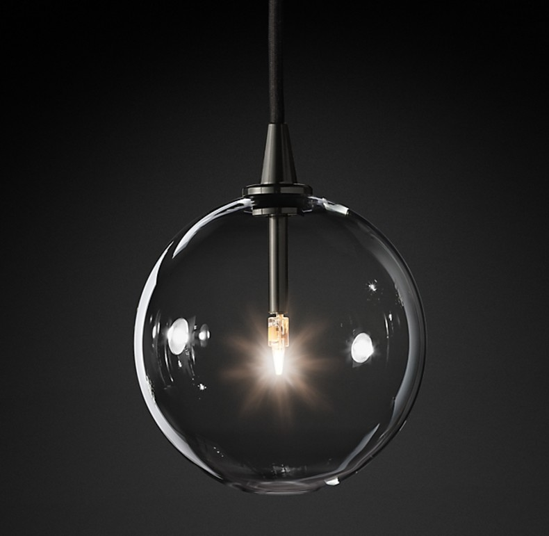GLASS GLOBE MOBILE PENDANT BLACK