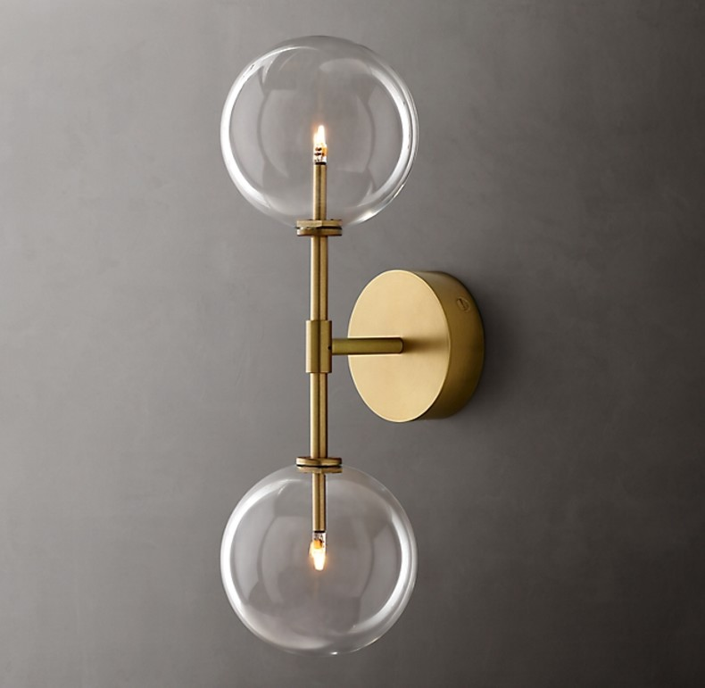 GLASS GLOBE DOUBLE SCONCE GOLD