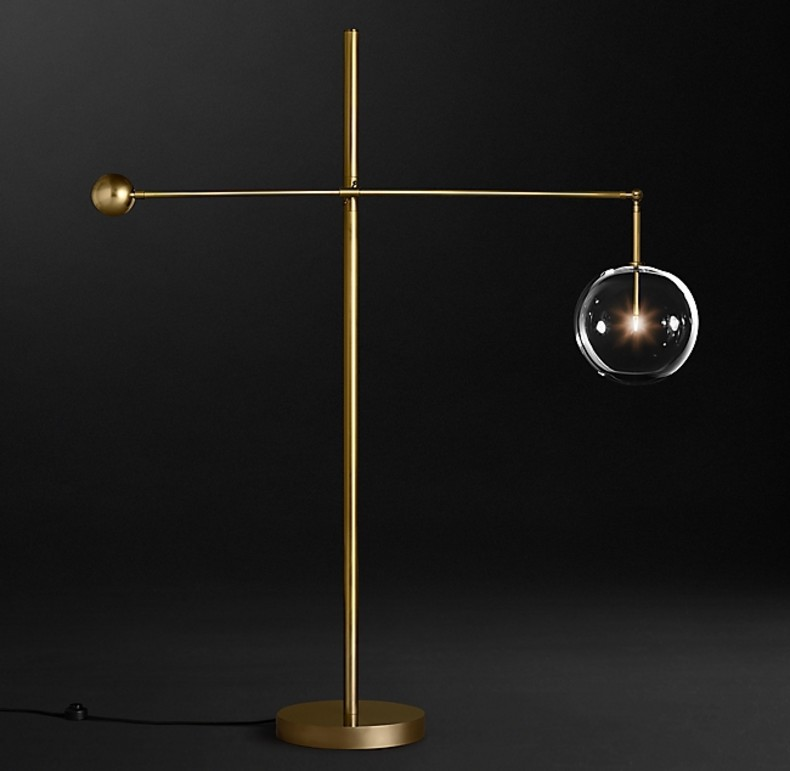 GLASS GLOBE  FLOOR LAMP GOLD