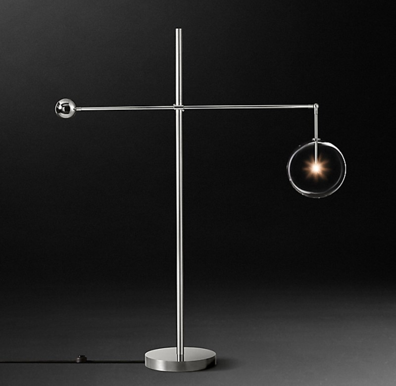 GLASS GLOBE  FLOOR LAMP NICKEL