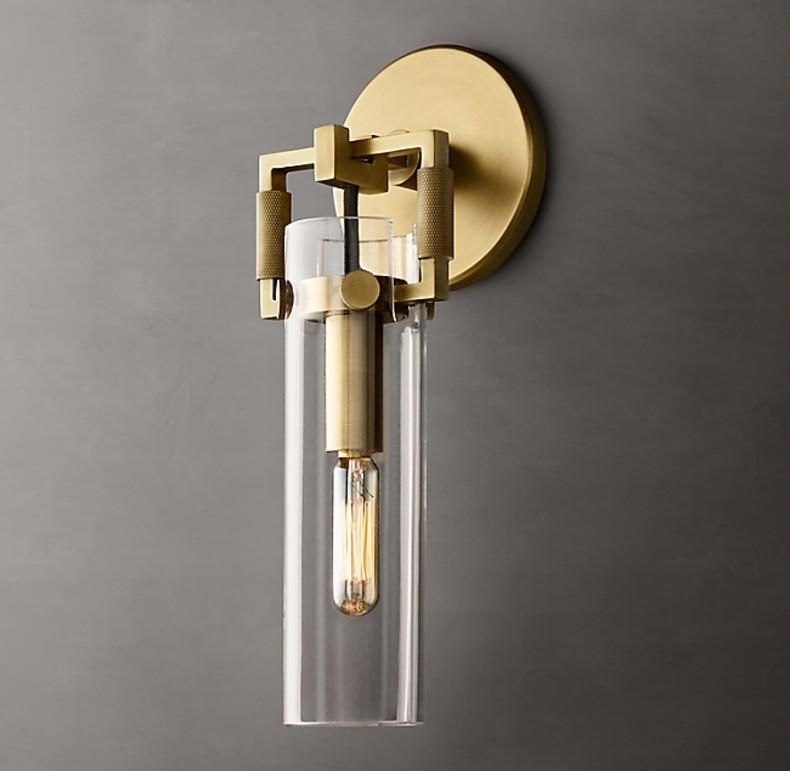 MACHINIST GLASS CYLINDER SCONCE GOLD