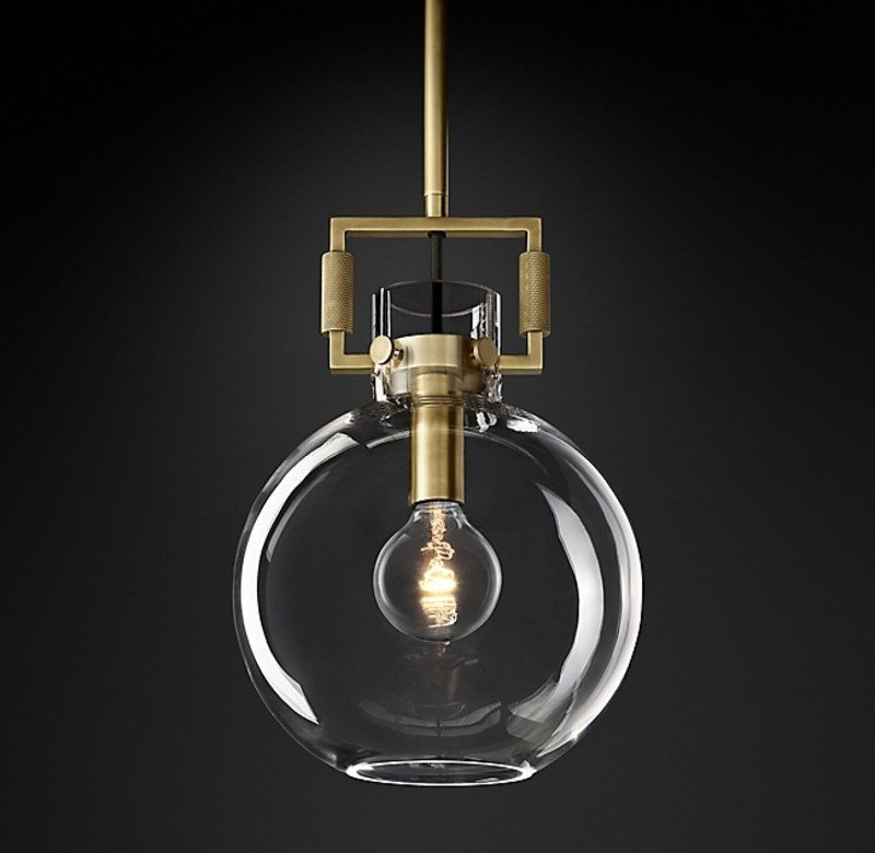 MACHINIST GLASS GLOBE PENDANT GOLD