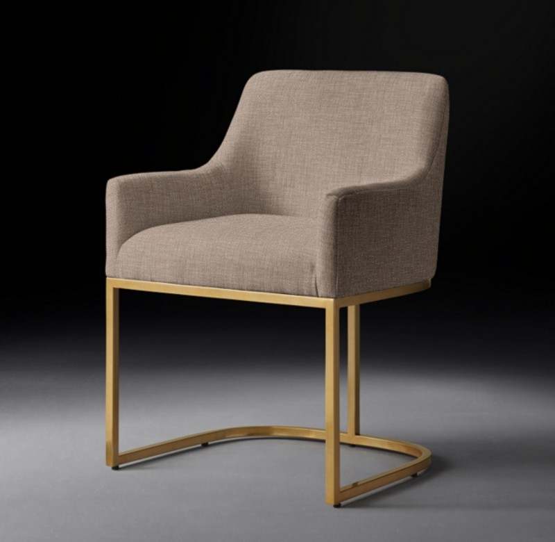 EMERY CURVED-BACK TRACK FABRIC ARMCHAIR BURNISHED