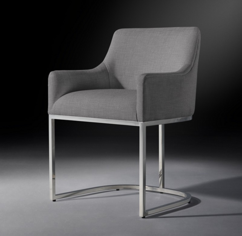 EMERY CURVED-BACK TRACK FABRIC ARMCHAIR POLISHED