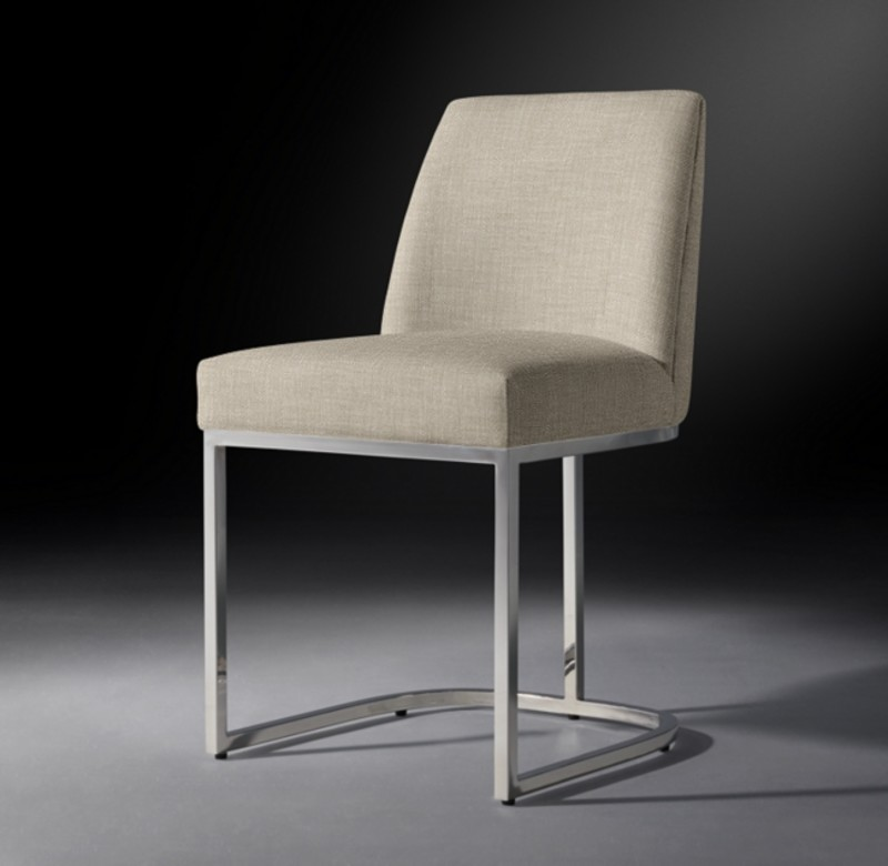 EMERY CURVED-BACK FABRIC SIDE CHAIR POLISHED